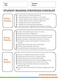 Graphic Organizer Reading Strategies Checklist