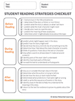 Reading Comprehension Strategy Tool - Reading Strategies Checklist