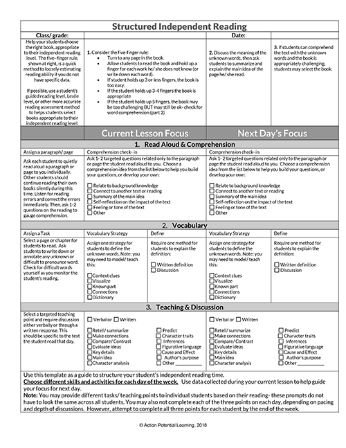 Structured Independent Reading Tool