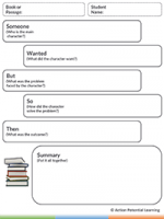 Reading Comprehension Graphic Organizer Tool – Someone-Then Character Summary